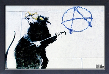 Framed Mini Poster - Banksy Anarchy Rat
